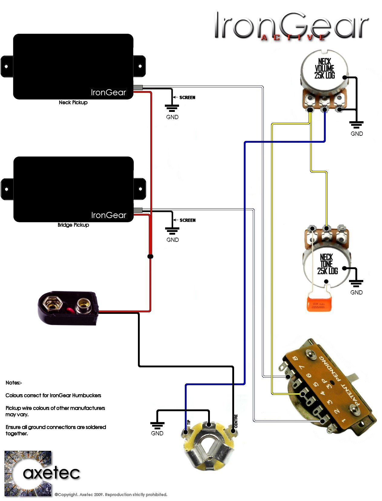 irongear pickups wiring rh irongear co uk active pickup wiring diagram active pickup wiring diagram 1 volume 1 tone