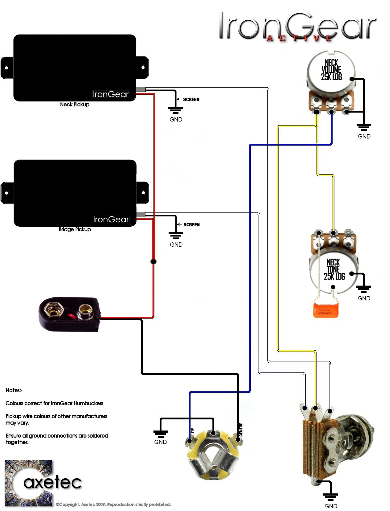 Guitar Wiring Diagram Library Dimarzio Dual Sound 2 X Active Humbuckers 1 Volume Tone 3 Way Toggle Selector